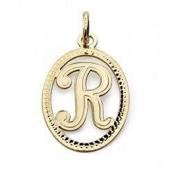 Colgante oro 18k inicial letra R 21mm. [7469]