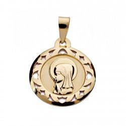 Medalla oro 18k Virgen Nina cerco calado 18mm. [7479]