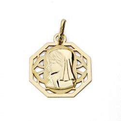 Medalla oro 18k Virgen Nina calada 17mm. [7480]
