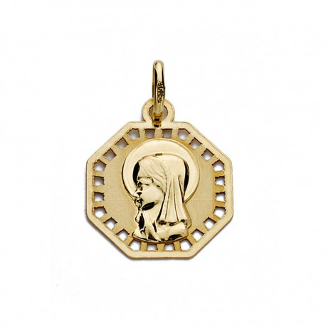 Medalla oro 18k Virgen Nina calada 16mm. [7481]