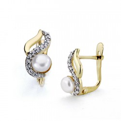 Pendientes oro bicolor 18k perla cultivada botón circonitas [7484]