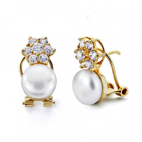 Pendientes oro 18k perla circonitas cierre omega [7485]