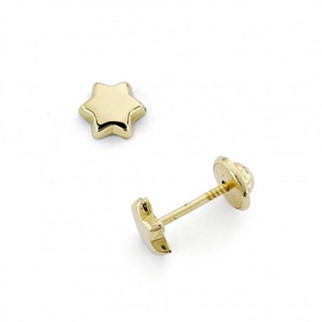 Pendientes oro 18k estrella 4mm. cierre tornillo [7492]