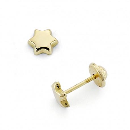 Pendientes oro 18k estrella 5mm. cierre tornillo [7493]