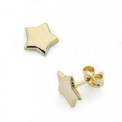 Pendientes oro 18k estrella 7mm. cierre presión [7495]