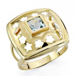 Sortija oro 18k piedra cuadrada flores estrella [7555]