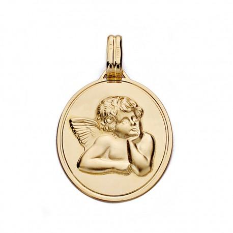 Medalla oro 18k oval angelito 24mm. [7561]