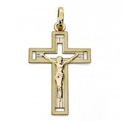 Cruz crucifijo oro 18k 28mm. Cristo calada centro tallado borde liso unisex