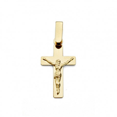 Cruz crucifijo oro 18k plano Cristo 20mm. [7695]