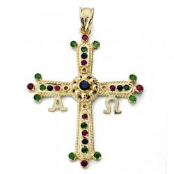 Colgante cruz oro 18k Covadonga 40mm. piedras finas colores azul verde morado Alfa Omega