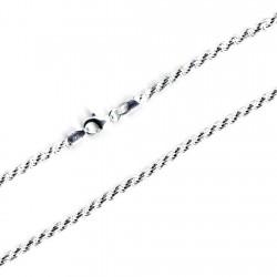 Cordón cadena plata 925m salomónico macizo 3,3mm. 50cm. [9688]