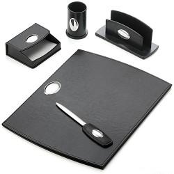 Escritorio set escribanía piel negra detalles plata 5 piezas [5678]
