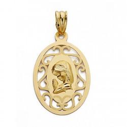 Medalla oro 18k Virgen Nina 17mm. calada con grabación [9069GR]