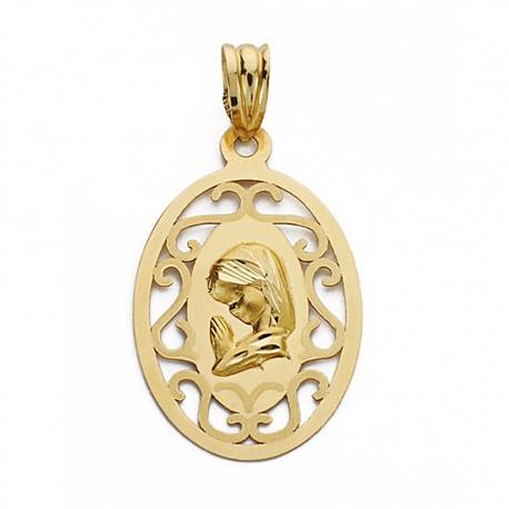 Medalla oro 18k Virgen Niña 17mm. calada [9069]