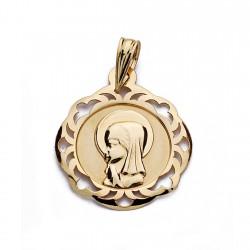 Medalla oro 18k Virgen Niña calada 20mm. [AA0162]