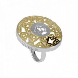 Sortija Queka Plata Ley 925m QA-603-YW colección Sol redonda calada bicolor rodio chapado oro