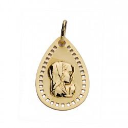 Medalla oro 9k Virgen Niña 19mm. [AA0742]