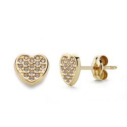 Pendientes oro 18k corazón 7mm. circonitas cierre presión [9812]