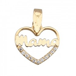 Colgante oro bicolor 9k corazón mamá circonita [6296]