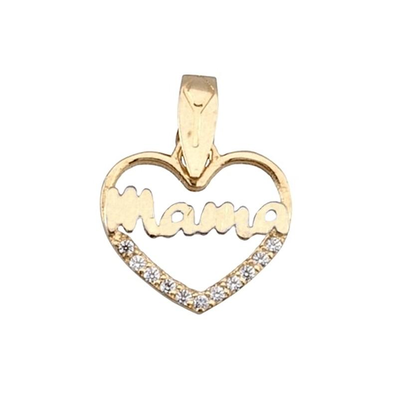 c15a11845284 Colgante oro bicolor 9k corazón mamá circonita  6296 . Loading zoom