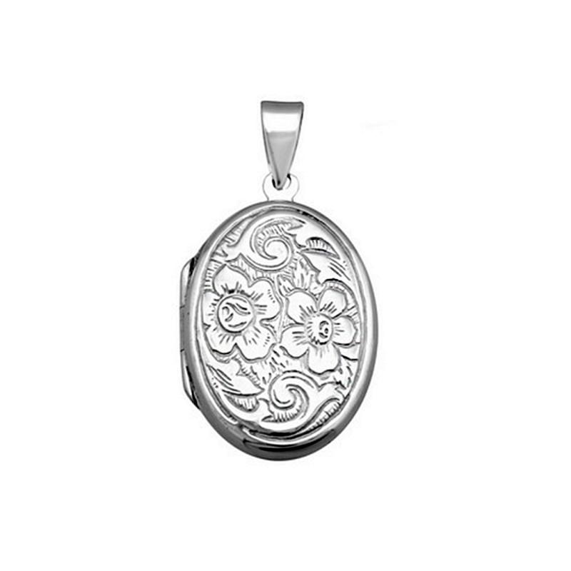 cupón de descuento super popular la mejor calidad para Colgante guardapelo plata ley 925m rodiada portafoto oval [AA0949]