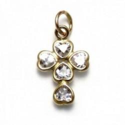 Colgante cruz Gold Filled 14k/20 circonitas corazón [AA0957]