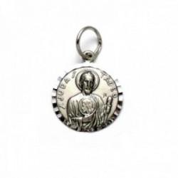 Medalla colgante plata Ley 925m oxidada San Judas Tadeo 17mm. cerco tallado liso detrás
