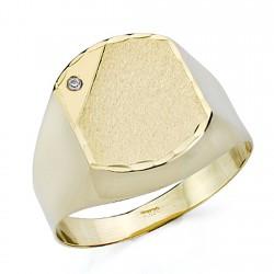 Sello oro 18k caballero circonita hueco [7521]