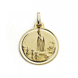 Medalla oro 18k Virgen de Fátima 16mm. bisel [7558]