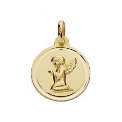 Medalla oro 18k Ángel de la Guarda 16mm, redondo [9065]