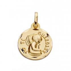 Medalla oro 18k YO TE GUARDARÉ 14mm. [AA0028]