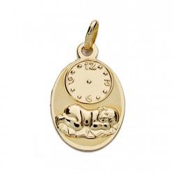 Medalla oro 18k niño hora 19mm. [AA0059]