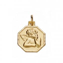 Medalla oro 18k angelito 16mm. [AA0067]