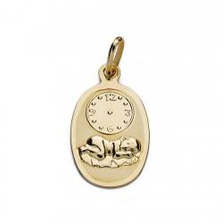 Medalla oro 18k niño hora 18mm. [AA0110]