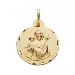 Medalla oro 18k San José 22mm. [AA0544]