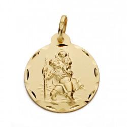 Medalla oro 18k San Cristóbal 22mm. [AA0573]
