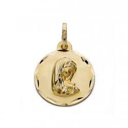 Medalla oro 18k Virgen Niña 19mm. [AA0574]
