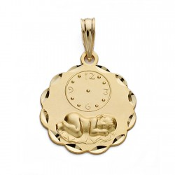 Medalla oro 18k niño reloj 19mm. [AA0582]