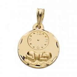 Medalla oro 18k niño reloj 15mm. [AA0583]