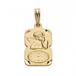Medalla oro 18k ángel reloj 19mm. [AA0584]