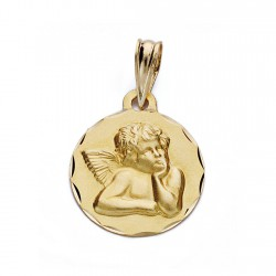 Medalla oro 18k ángel burlón 14mm. [AA0588]