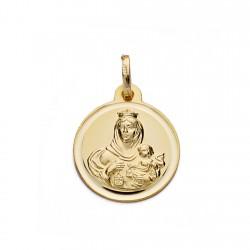Medalla oro 18k Virgen del Carmen bisel 16mm. [AA0594]
