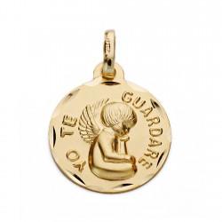 Medalla oro 18k YO TE GUARDARÉ 16mm. [AA0607]