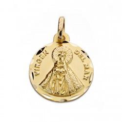 Medalla oro 18k Virgen Guadalupe silueta 19mm trasera lisa GRABACI/ÓN INCLUIDA EN EL PRECIO Personalizable