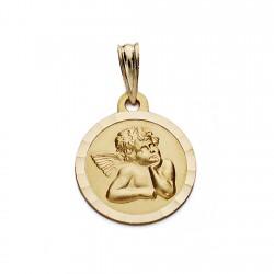 Medalla oro 9k angelito burlón 14mm. [AA0694]
