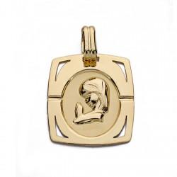 Medalla oro 9k Virgen Niña 20mm. [AA0738]
