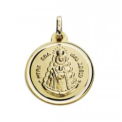 Medalla oro 18k Virgen del Rocío 18mm. bisel [7571]