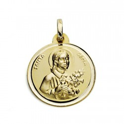 Medalla oro 18k Santa Gema 18mm. bisel [7574]