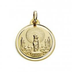 Medalla oro 18k Virgen del Pilar 18mm. bisel [7579]