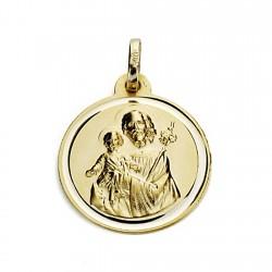 Medalla oro 18k San José 18mm. bisel [7580]